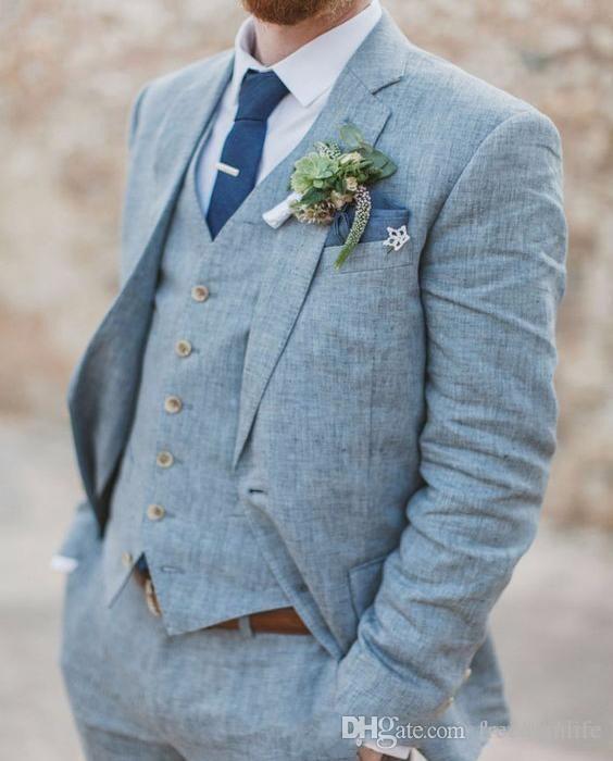 New Light Blue Linen Men Suits Wedding Suits Slim Fit 3 Pieces Groom Tuxedos Best Mens Prom Suits (Jacket+Pants+Vest) Custom Made