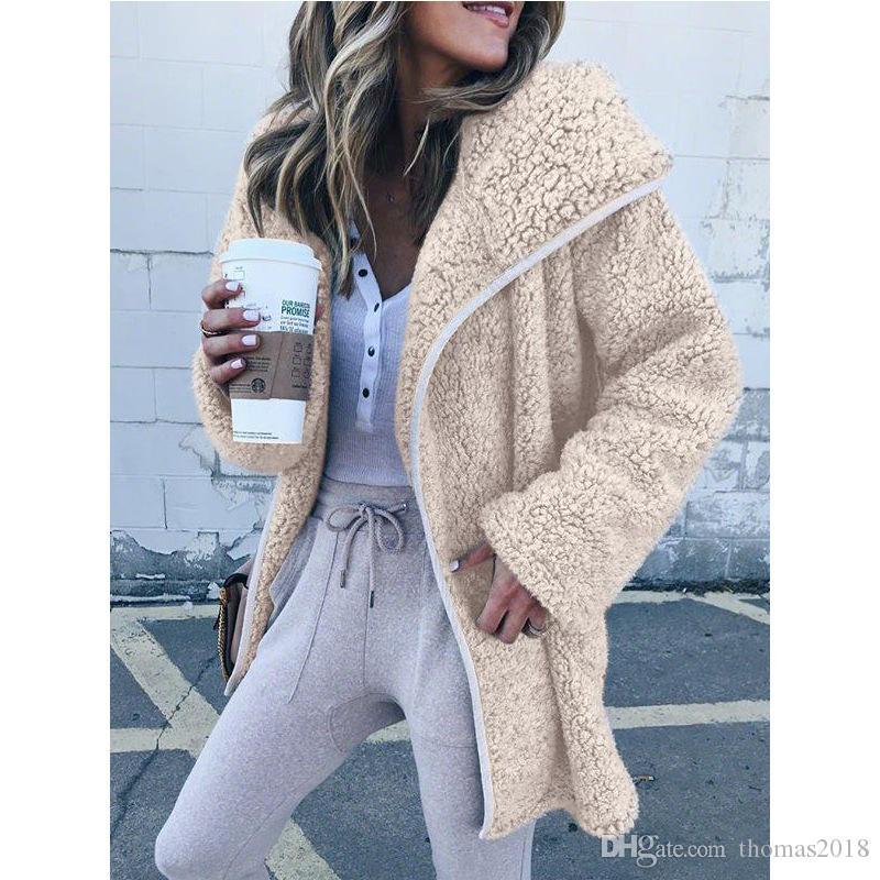 Mulheres Plush Jacket casaco quente de lã grossa de inverno com capuz Casual manga comprida Roupa Moda Brasão Sólidos