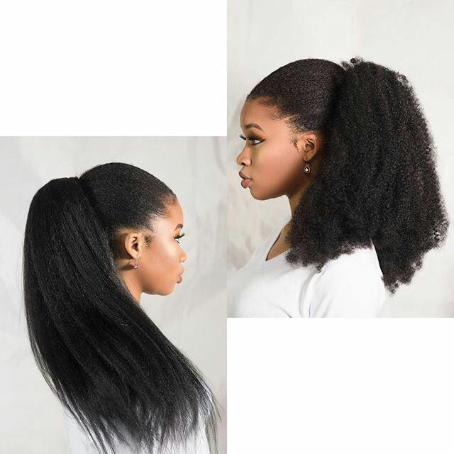 Recto rizado del pelo del clip de lazo humana brasileña Cola de caballo en el pelo de las extensiones de color natural Remy Puff Ponytail productos 120g envío gratis