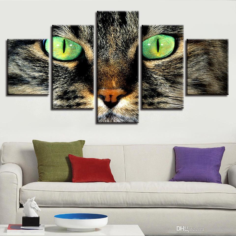 Animal Stampe d'arte moderna Decor 5 Pezzo Occhi verdi Gatti Immagine poster Dipinti su tela modulare del salone della casa parete Opere