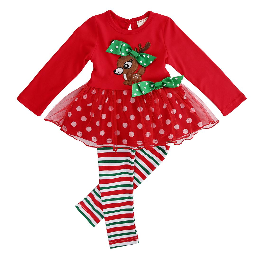 Christmas Party Kid Baby Girl Sets Cute Animals Red Top Polka Dot Dress +Stripe Leggings Festival Xmas Party Tutu Dress Outfit