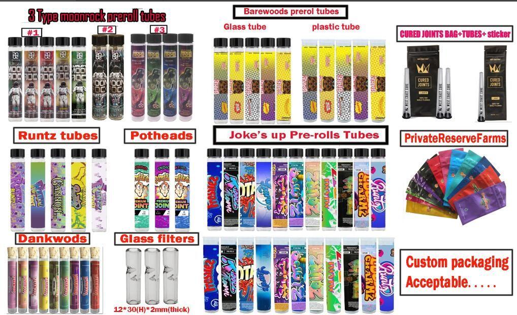 Mezclar Tipos Pro-rollos de embalaje de Barewoods Broma hasta Runtz Moonrock Dankwoods los Potheads Cure articulaciones Preroll Tubo Embalaje personalizado