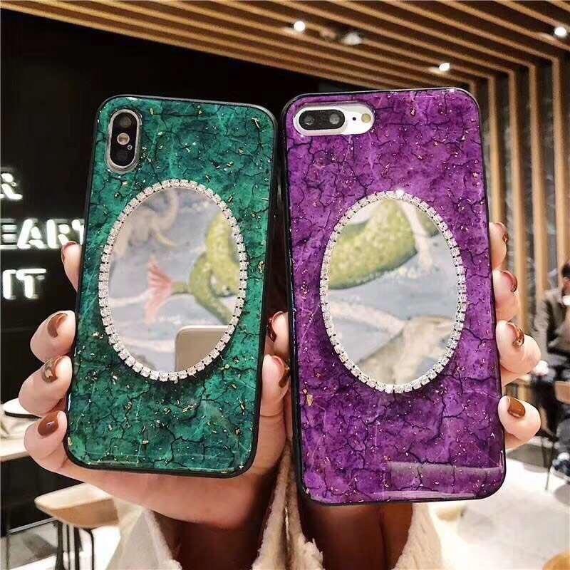 Bling Spiegel-Telefon-Kasten für iPhone X XS MAX XR Goldfolie Marble Glitter Handy-Abdeckung für iphone xs 8 7 Plus