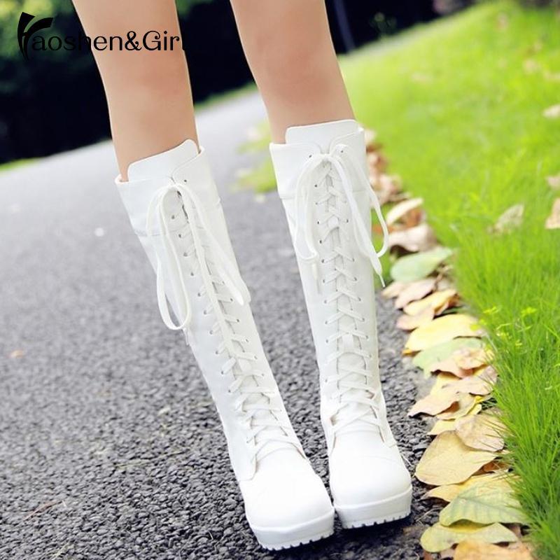 HaoshenGirl atando acima do joelho alta botas de inverno Mulheres Cosplay Shoes Branco Quadrado Preto Heels Shoes Calçados de couro Big Size 33-48 V191217
