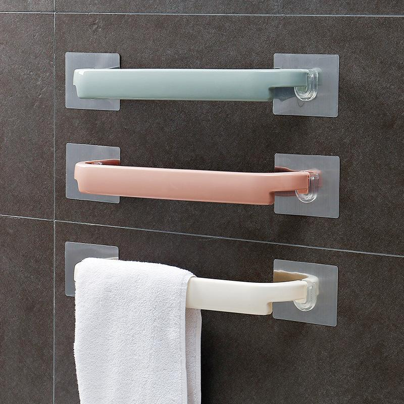 Self-adhesive Towel Holder Rack Wall Mounted Towel Hanger Bathroom Towel Bar Shelf Roll Holder Hanging Hook Bathroom Organizer