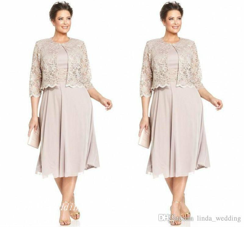 2019 Elegant Mother Of The Bride Groom Dress With Jacklet High Quality Chiffon Lace Formal Wedding Party Gown Plus Size vestido de madrinha