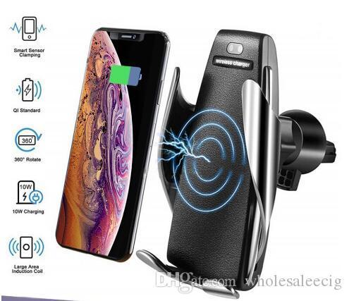 S5 Otomatik Sıkma Kablosuz Araç Şarj Tutucu Alıcı Dağı Akıllı Sensör 10W Hızlı iPhone Samsung Universal Telefonlar için Şarj Şarj