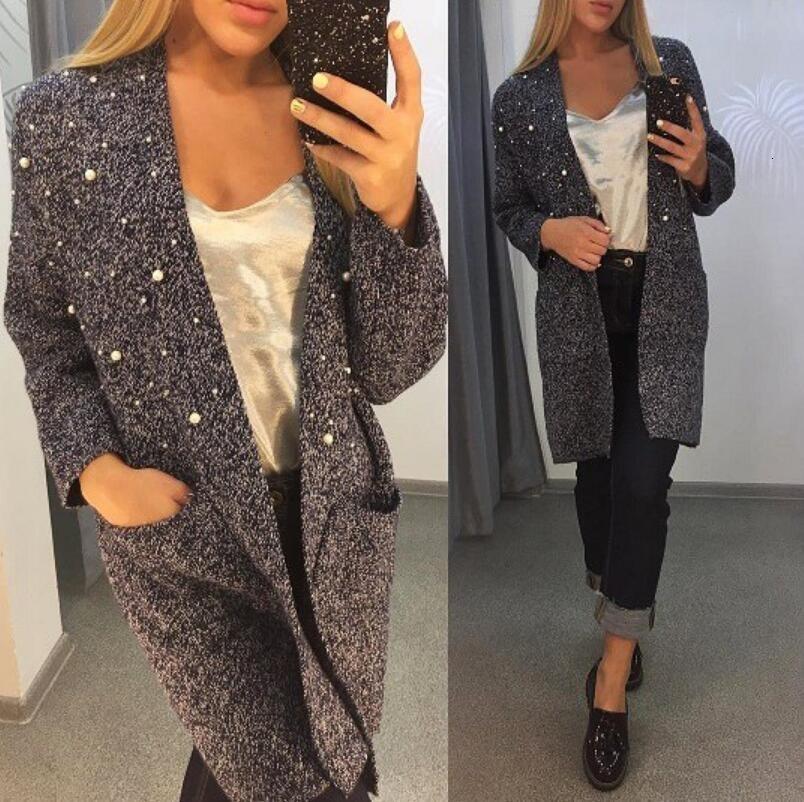 2018 Longue perle cachemire Cardigan femmes laine à manches longues ouvert cou Point tricot dame Cardigans Pull V Veste Manteau de Y190929