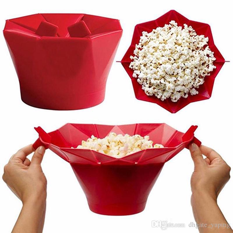 Silicone balde de pipoca máquina de pipoca recipiente de armazenamento dobrável pop microondas caixa de milho balde de arroz tufado cozinha tigela de comida