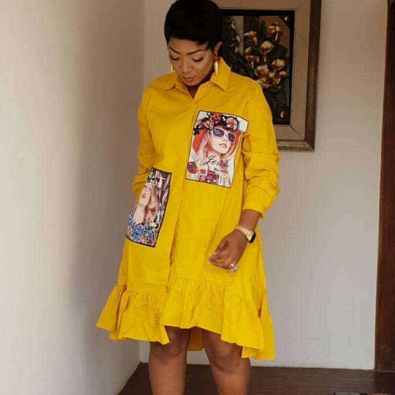 Primavera Autunno colore giallo di modo stampa il vestito pieghettato casuale donne sveglie perline camicia a maniche lunghe Abiti Plus Size Abiti