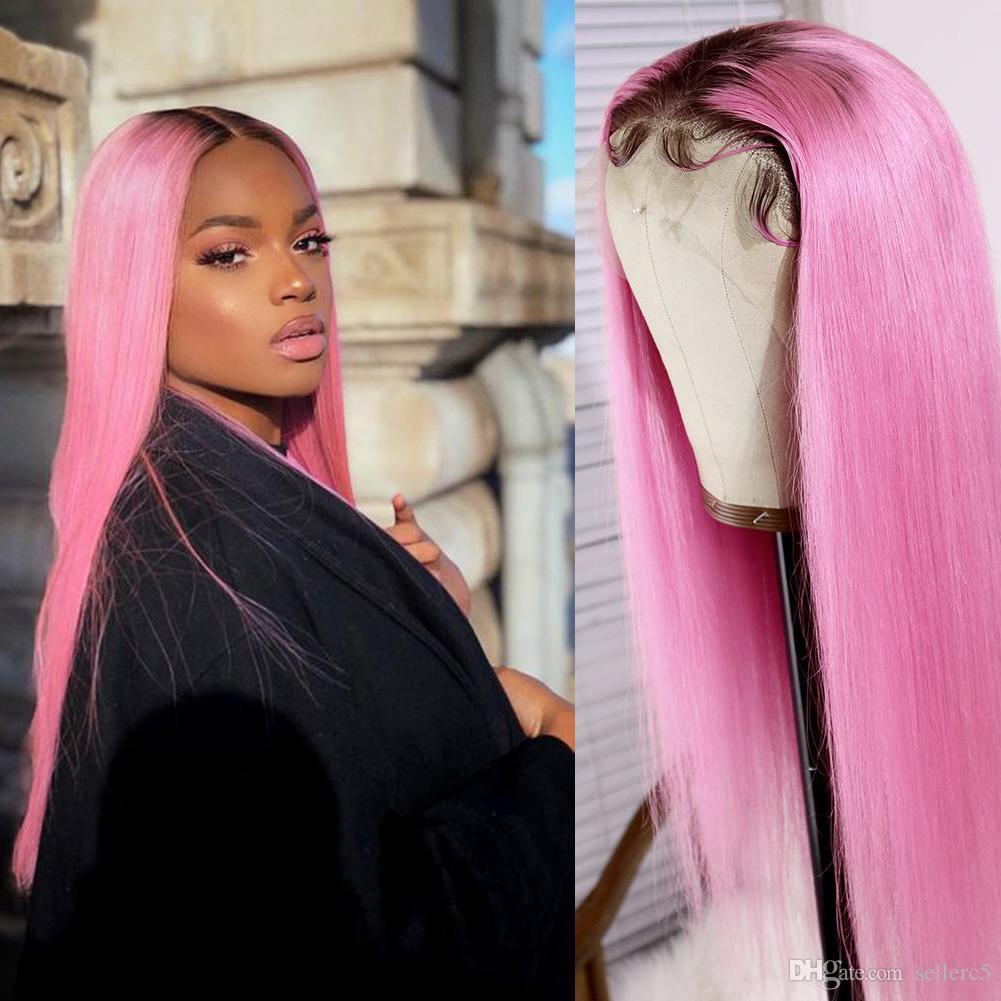 AIVA Brésilien cheveux humains pleine dentelle perruques 150 Densité 613 cheveux Rose Dyeing Ombre droite Glueless perruques pour les femmes noires avec des cheveux de bébé