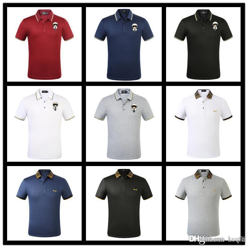 479H ITALY início da primavera estilo mais recente moda de alta qualidade selvagem high-end T-shirt asiático plus size mista POLO camisa de algodão homens casuais