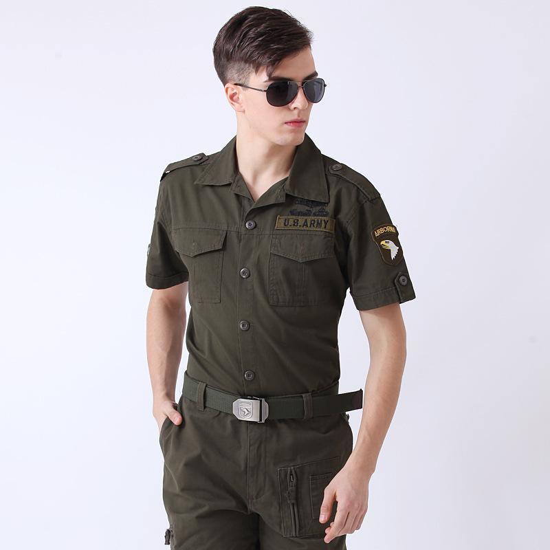 US Freedom Ritter Armee Shirts Green Cotton Blend-Brave Eagle-Stickerei-Sommer-Kurzschluss-Hülsen-Einreiher Bluse