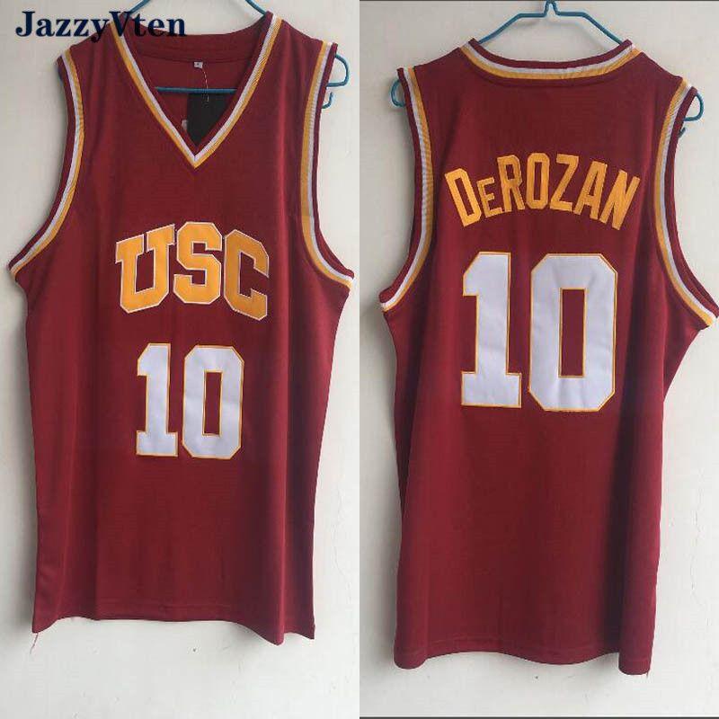 뜨거운 판매 24 Scalabrine Men Jersey # 10 DeRozan 1 # 젊은 저지 대학 남성 농구 유니폼 Red Sports Jersey 무료 배송