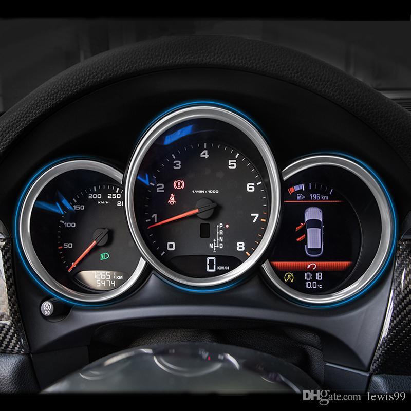 Etiqueta engomada decorativa del ajuste del marco de la cubierta de la tira de la luz del tablero del estilo del coche para Porsche Macan Cayman Boxster Panamera Cayenne Auto Accesorios