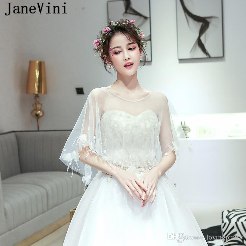 JaneVini 우아한 2019 New Summer White Tulle Bridal 숄 랩 특종 목 Beaded Women Short Cape 볼레로 대 한 웨딩 Dress Coat Veste Femme