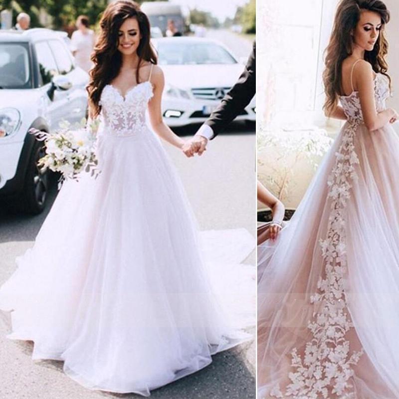 Esparguete Encantador Correias Vestido De Casamento Uma Linha Rendas Appliques Sem Costas Vestidos De Casamento Vintage Vestido De Noiva Sem Mangas 89