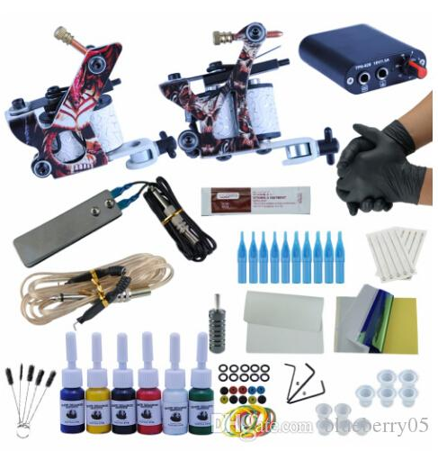 Complete Tattoo Machine Kit Set 2 Coils Guns 6 Colors Black Pigment Sets Power Tattoo Beginner Grips Kits Permanent Makeup
