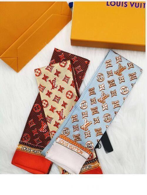 Designer Schal Damen nehmen schmalen Designer Tasche Griff Seidenschal doppelseitig gedruckt Köper Satin Marke kleine Rippe
