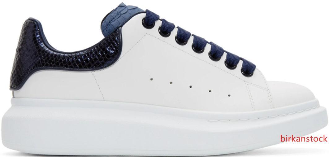 Smart Platform para hombre Negro Azul manera de las mujeres zapatos planos señora ocasional que caminan ocasionales de las zapatillas de deporte luminoso fluorescente blanca del cuero de zapatos