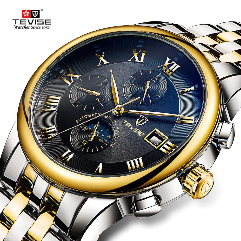 Tevise Мужские Часы Автоматические Механические Часы Moon Phase Водонепроницаемый Светящиеся Дата Автоматические Часы Мужчины Мальчик Наручные Часы 2017 Новый J190614