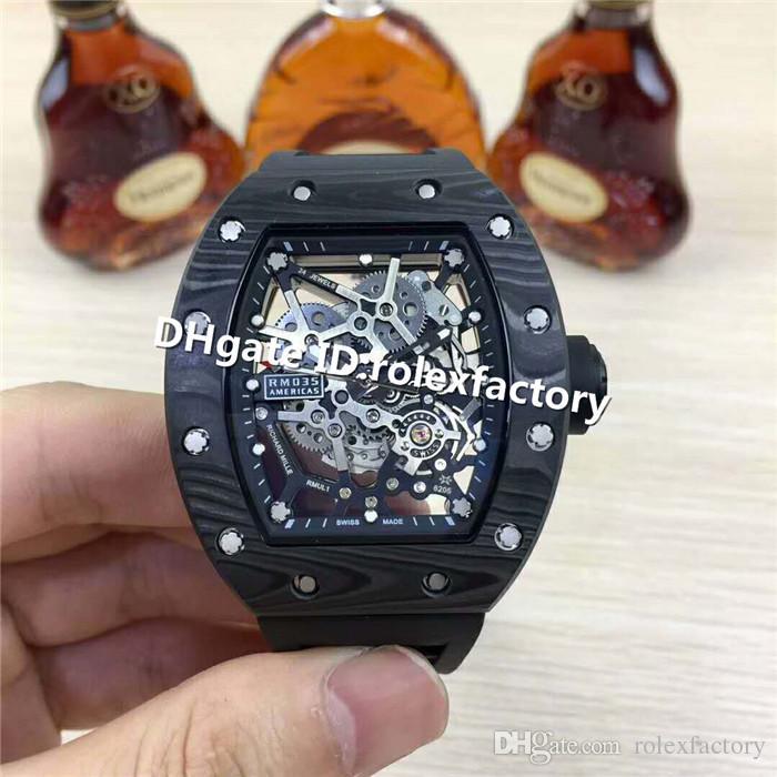 2019 Top Luxury 035 Men Watch Skeleton Dial Carbon Fiber Case Rubber Strap Automatic 28800vph transparent case back Sports Watches