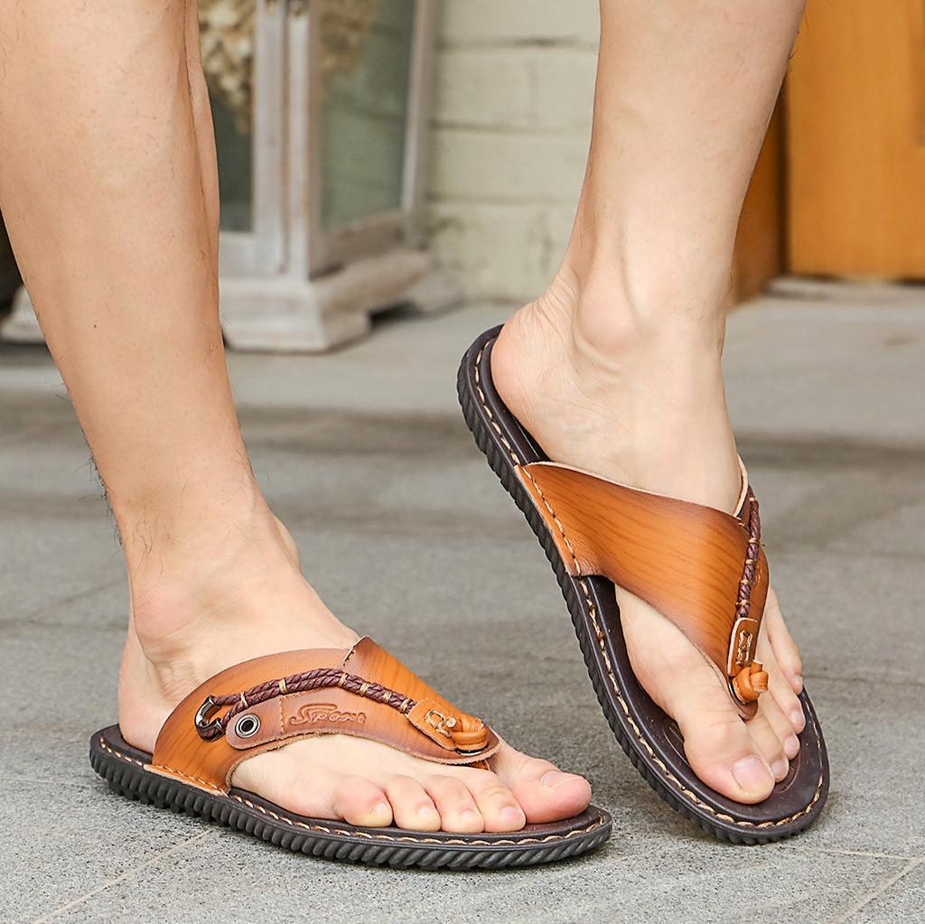 Men's Casual Flat Flip Flops Slippers Beach Sandals Outdoor Skid Shoes slippers men terlik babouche homme Male Shoes Outdoor