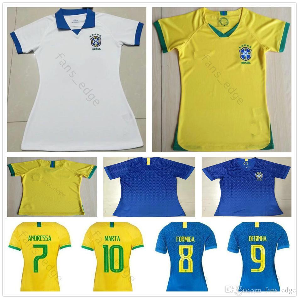 2019 년 월드컵 여자 브라질 축구 유니폼 마타 아드리아나 FORMIGA DEBINHA ANDRESSA 커스텀 19 20 옐로우 블루 화이트 레이디 걸 축구 셔츠