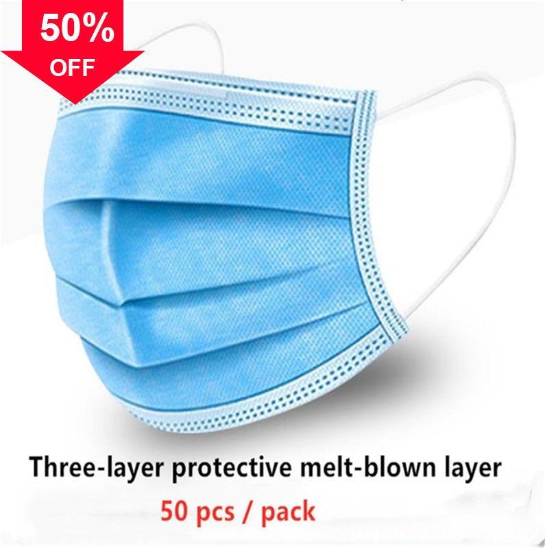 LAPcn 50pcs / lot 2020 3Layer à usage unique masque anti-poussière avec de stock de filtre de masques n 95 auto-Pirmin par DHL en