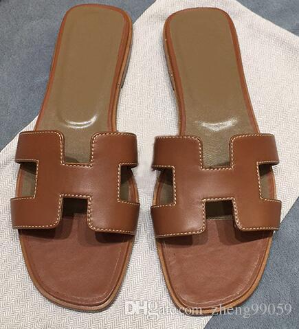 Chaussures Sandales Chaussures Flats En Cuir Femmes Chaussures Femme D'été Loisir Dames Sandales Marque De Acheter Designer Pantoufles Marque Flops D2IEH9