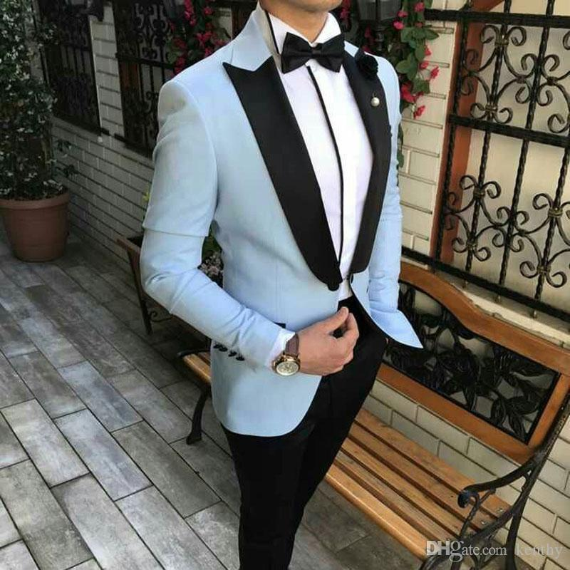 Düğün Takımları Pantolon Damat smokin Man Kıyafet Slim Fit Man Blazer Kostüm Homme Prom Parti 2piece Terno Masculino için İtalyan Mavi Suits