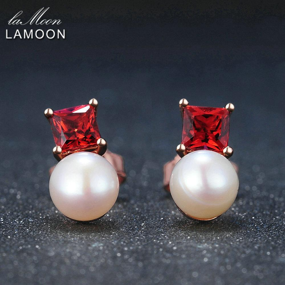 Lamoon Simple Style 100% Natural Red Garnet Freshwater Pearl 925 Sterling-silver-jewelry Earring S925 Lmei038 T190626