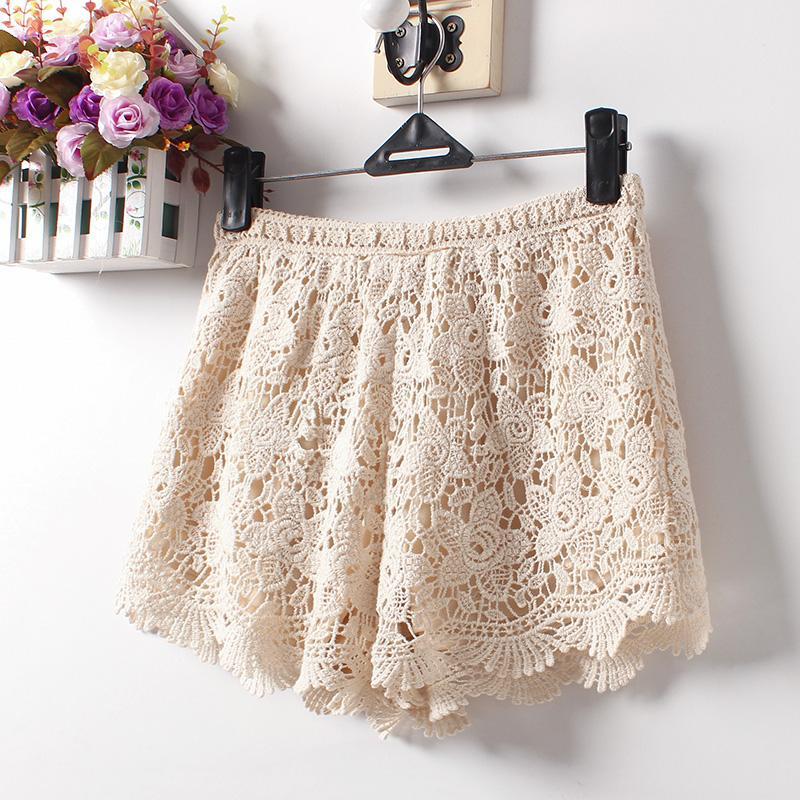 Лето 2020 новых женщин Sexy кружева шорты хлопок цветочные кружева крючком Мини-шорты досуг Короткие брюки плюс размер