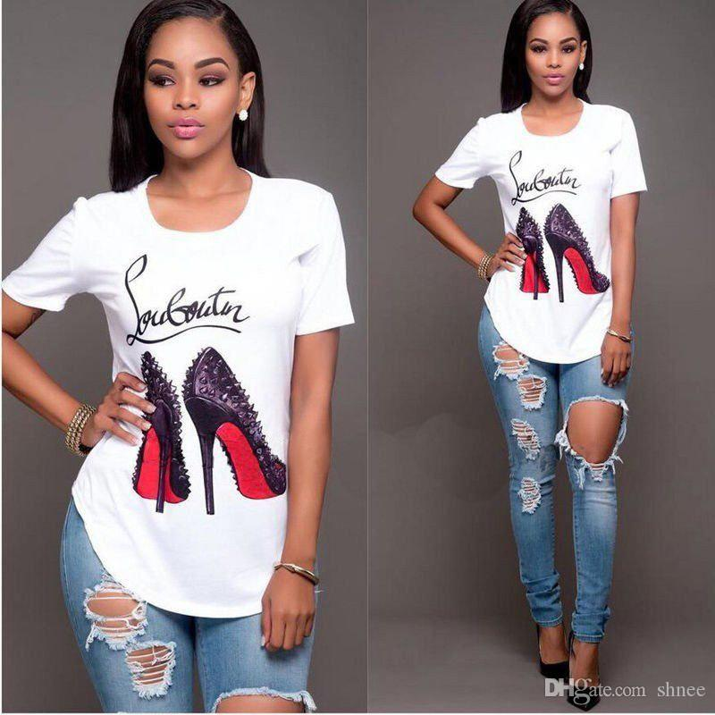 Women White T Shirt 4XL high Heel Ptinted Women Short Sleeve Loose Tshirt Summer Women Tee Shirt Tops Camisetas Mujer