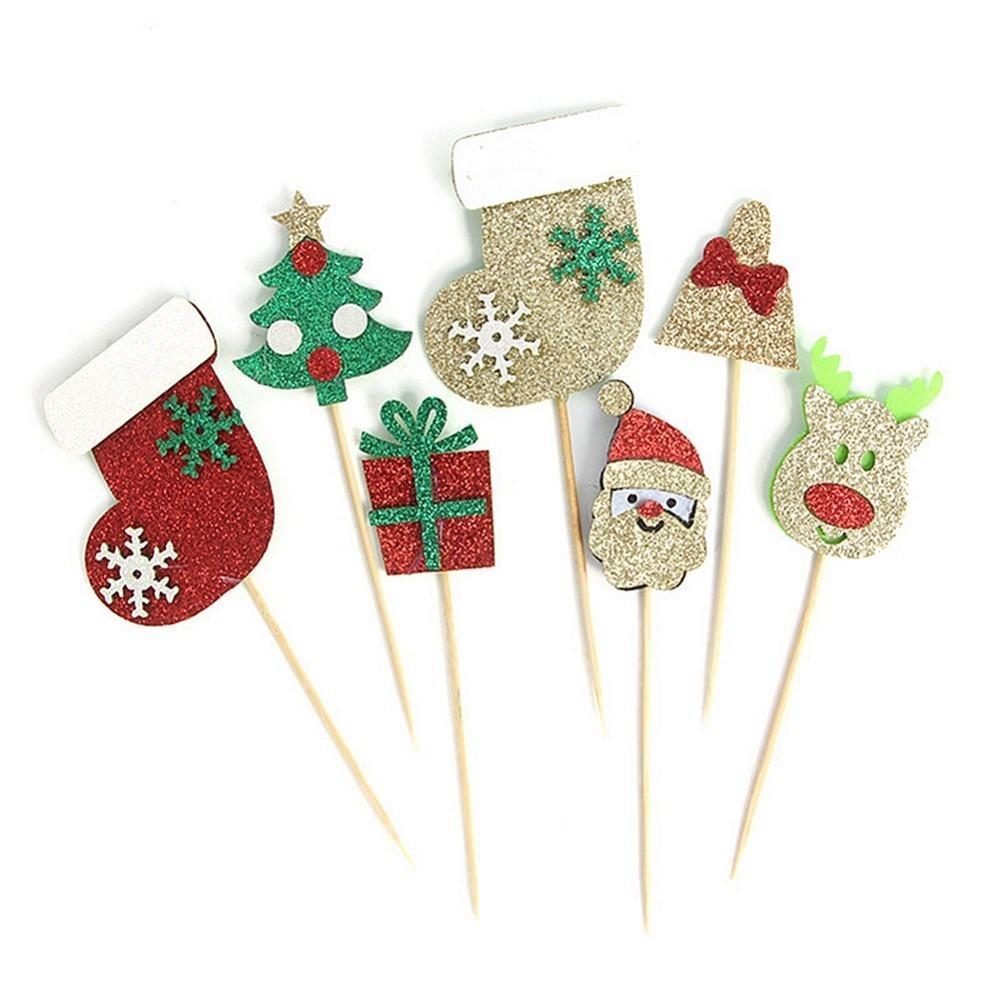 Pacchetto Di 9pcs cake topper Cupcake Toppers di Natale per buon Natale ornamenti per le decorazioni del partito