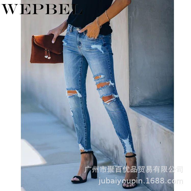 WEPBEL Kadın Jeans Casual Sıska Orta Bel Sıkı Delik Moda Kalem Ripped Jeans