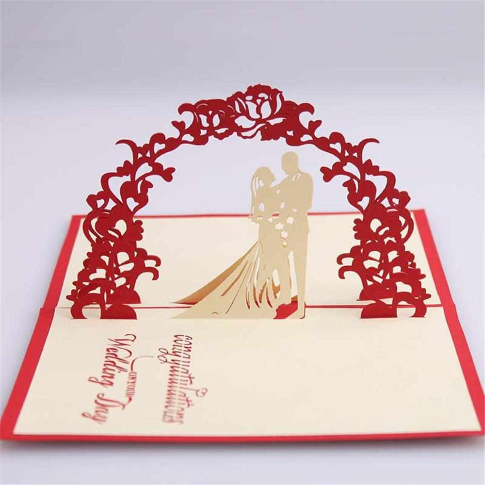Creative selling exquisite handmade paper carving dream wedding 3D greeting CARDS holiday greeting CARDS customized HK033