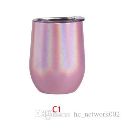 Tabouillette à vin de 12 ooz arc-en-ciel en forme de tumle en acier inoxydable à double paroi Tasse à café de 12 oz avec couvercle FIDMB