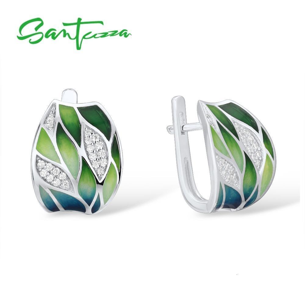 Pendientes de plata para las mujeres SANTUZZA genuino 925 hojas de bambú verde plata esterlina blanca brillante CZ joyería fina hecha a mano de esmalte CJ191205