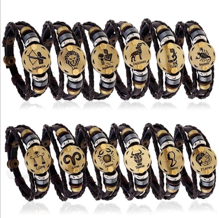 New Fashion Classic Twelve constellation charm horoscope bracelets leather bracelet punk jewelry 12 styles