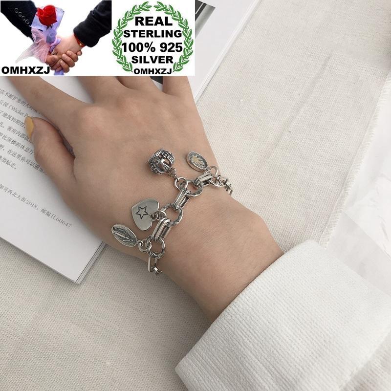 Encanto Coroa do coração Birthday Party OMHXZJ Atacado HB93 Europeia Moda Mulher Hot presente Vintage 100% 925 pulseira de prata