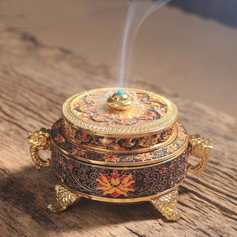 Räucherstäbchenhalter Räucherstäbchen tibetischen Stil gemalt Emaille-Zink-Legierung Coil Räucherstäbchenhalter Home Office-Dekoration-Geschenk