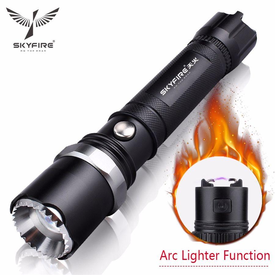 SKYFIRE Briquet à arc LED Lampe de poche Autodéfense Tête d'attaque avec torche zoomable Lumières lanterna Rechargeable 18650 Batterie et support