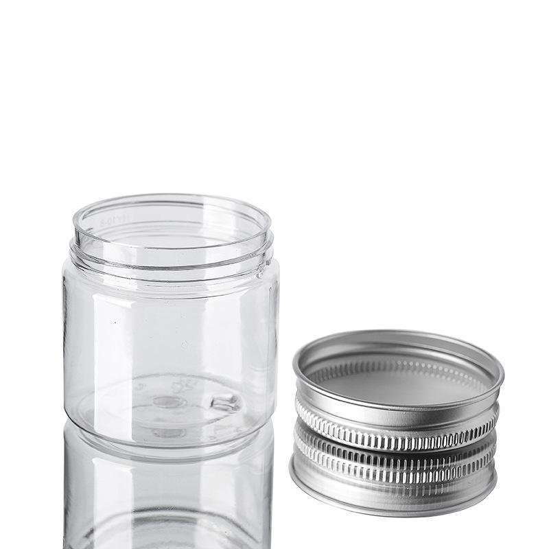 50 ml Jars en plastique PET transparent en plastique BIDONS Boîtes bouteille ronde avec couvercles en aluminium vide pot récipient cosmétique DBC BH3325