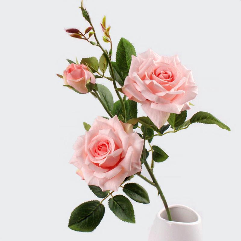 5шт Artificial 3 головки Париж Розы Цветы Branch Искусственные растения Декоративные цветы из шелка для венчания Главная партия украшения Фиктивный завод