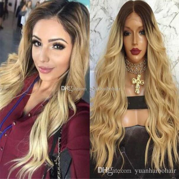 Dark Root Brown/Blonde Ombre Lace Front Wig Brazilian Human Hair Loose Wave Two Tone Full Lace Wig for Black Women Free Shipping