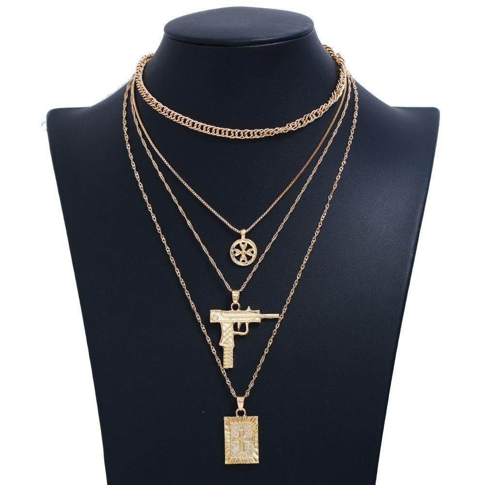 Exquisito Collar de collares de múltiples capas Collar de joyería Hip Hop Gun Cruz Colgante Collar Color Oro Plata Collar de gargantilla de cadena de eslabones largos