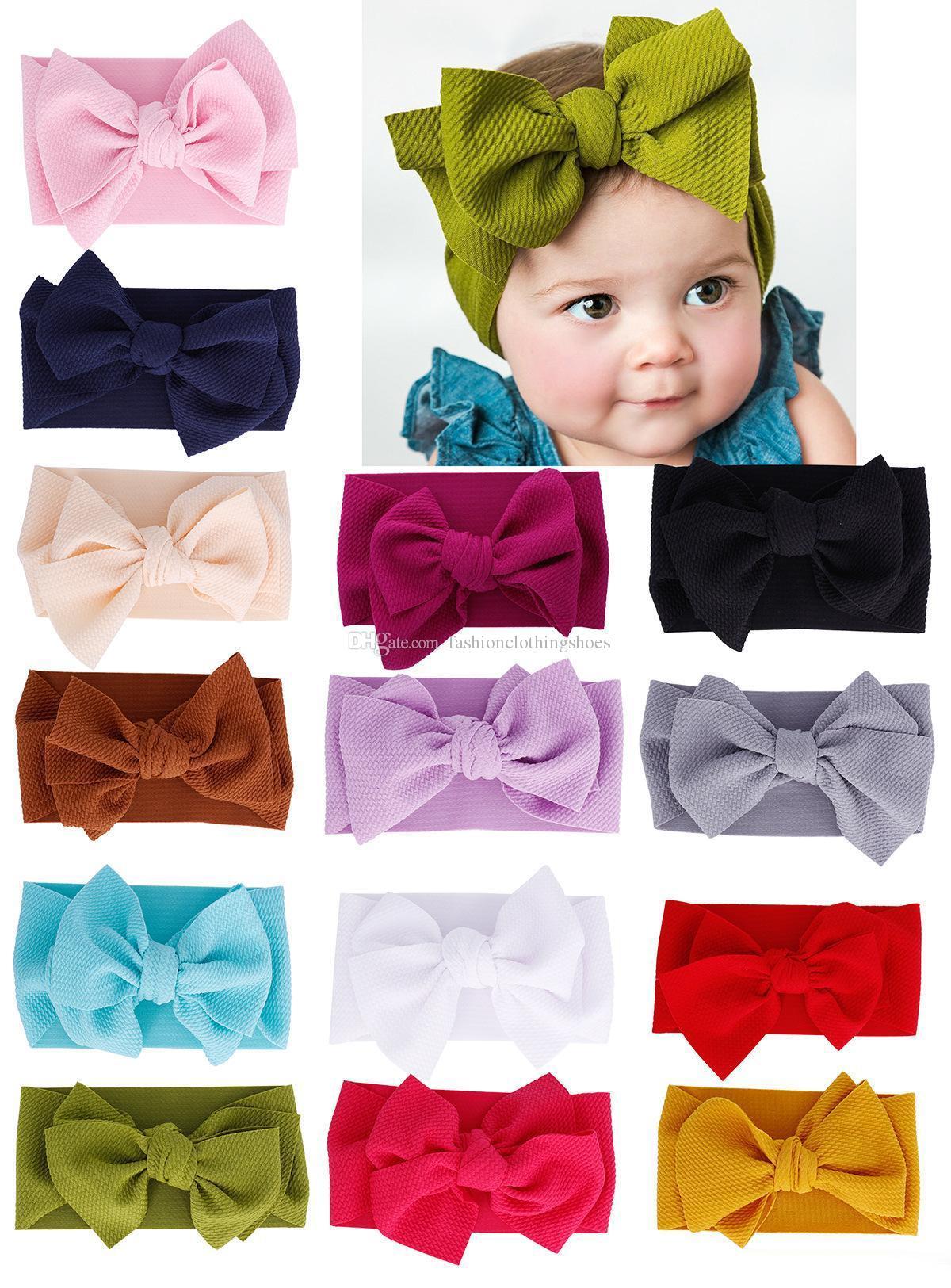 14 اللون تناسب جميع طفل كبير القوس الفتيات عقال 7 بوصة كبير bowknot حك الاطفال القوس للشعر القطن واسعة رئيس عمامة الرضع الوليد رباطات