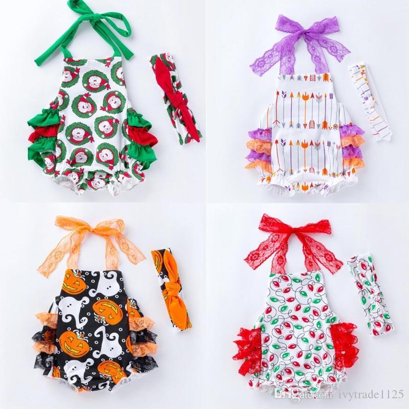 طفلة هالوين ملابس عيد الميلاد أكمام اليقطين أو عيد الميلاد كلوز حمالة رومبير العصابة 100 ٪ القطن ملابس الرضع رومبير