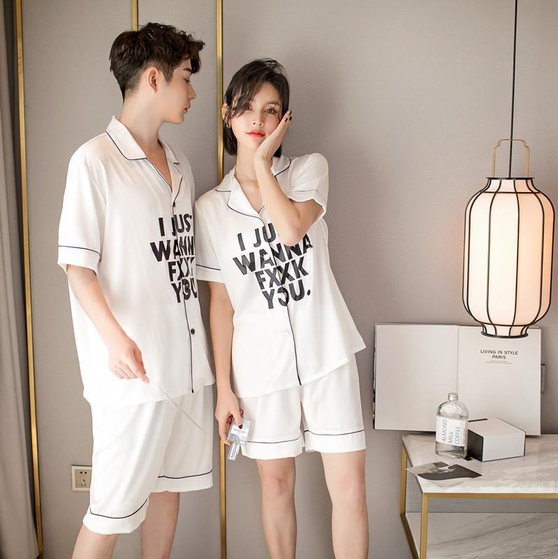 modèle d'été couples maison costume à la mode soie d'émulation respirant short à manches courtes et l'atmosphère sous contrat